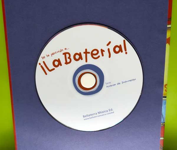 CD que incluye temas musicales interpretados con percusión y el audio cuento